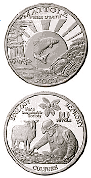 """of silver coins commemorating the """"Mattole Free State."""" The coins"""